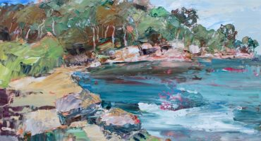 an abstract oil painting of Berry's Bay with blue sea and sandstone and gum trees in the distance in Australia